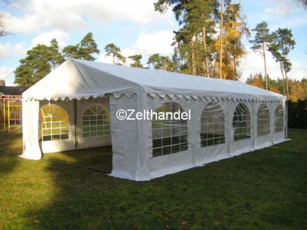 Partyzelt 6x10m weiß mit Bodenrahmen und Dachverstrebung