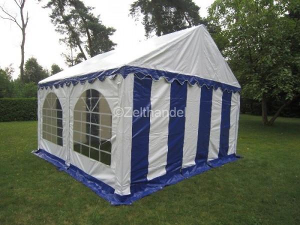 Partyzelt 4x4 blau-weiß mit Bodenrahmen und Dachverstrebung