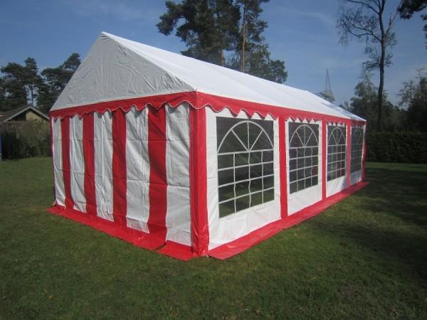 Partyzelt 4x8m rot-weiß PVC mit Klettverschluß