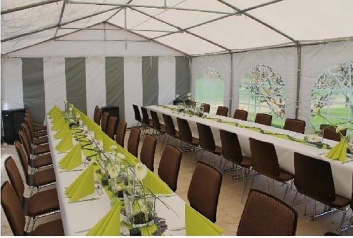 Partyzelt 5x6 grau-weiß, Dach grau PVC feuerfest