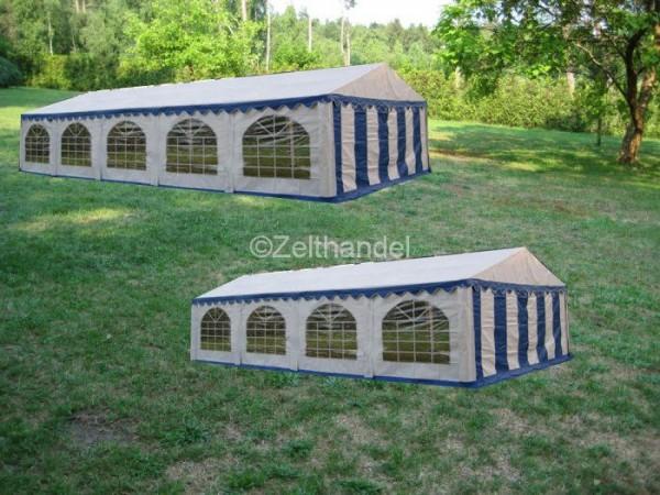 Kombizelt 4x10/4x8 blau-weiß mit 2 Dachplanen