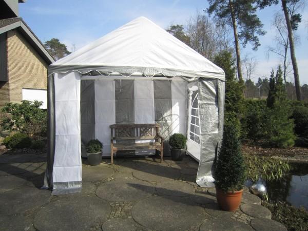 kleines Gartenzelt 3x2m grau-weiß