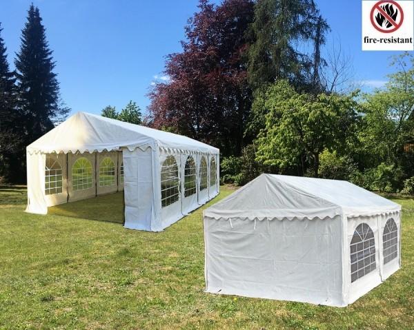 Kombizelt 4x8m und 4x6m PVC weiß Seitenhöhe 2,30m