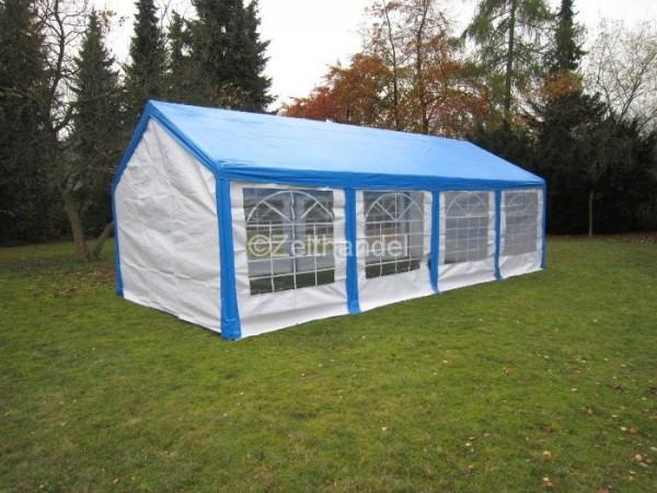 Partyzelt 4x8, PE mit blauem Dach