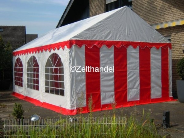 Partyzelt 5x6 rot-weiß mit Grundrahmen und Dachverstrebung