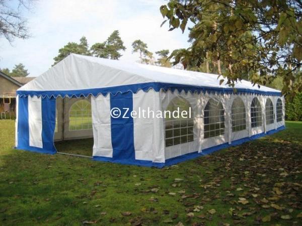 Partyzelt 5x12 blau-weiß mit Bodenrahmen und Dachverstrebung