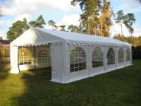 Partyzelt 6x10m weiß PVC Bodenrahmen und Dachverstrebung