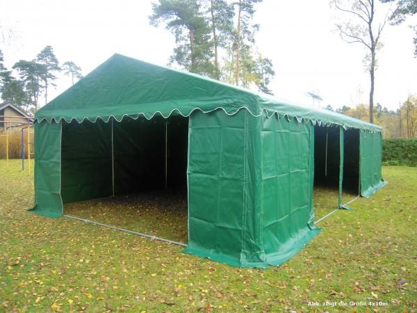 Lagerzelt 4x8 grün PVC, feuerfest, Dach u.Bodenverstärkung