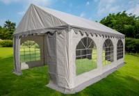 Partyzelt 3x6, PVC grau-weiß mit Dach-und Bodenverstärkung