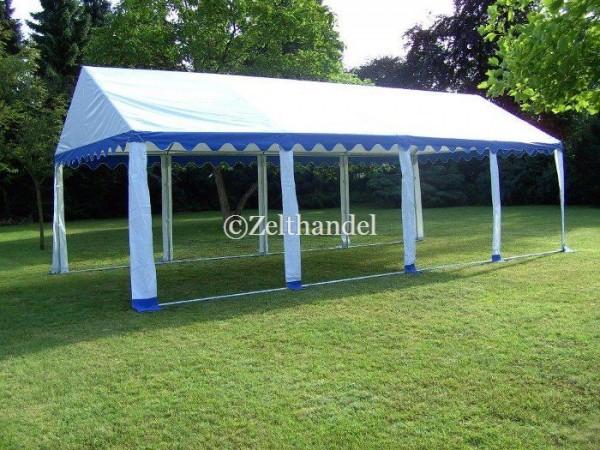 Zeltdach 4x8m, PVC blau-weiß