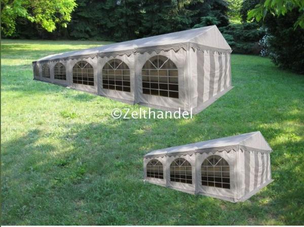 Kombizelt 6x12/6x8 grau-weiß mit 2 Dachplanen