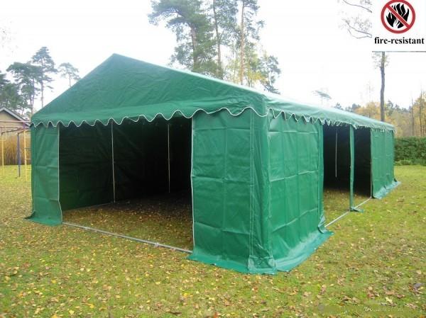 Lagerzelt 4x10 grün PVC, feuerfest, Dach u. Bodenverstärkung