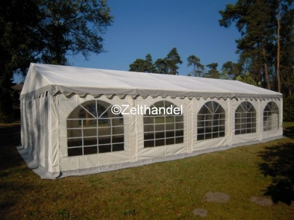 Partyzelt 4x10 grau-weiß mit Grundrahmen und Dachverstrebung