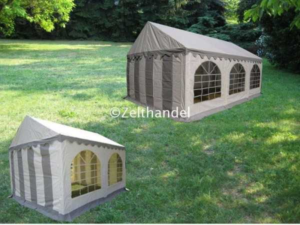 Kombizelt 4x6/4x4 grau-weiß mit 2 Dachplanen