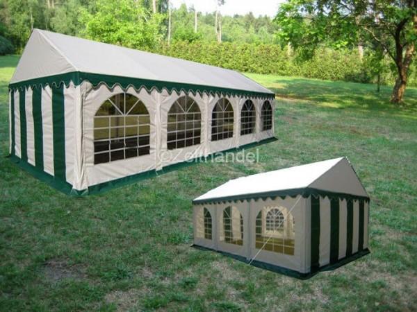 Kombizelt 4x10/4x6 grün-weiß mit 2 Dachplanen