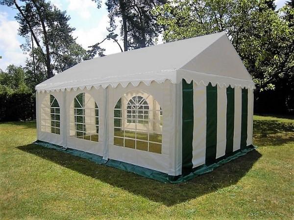 Partyzelt 4x6 PVC grün-weiß, Bodenrahmen und Dachverstrebung
