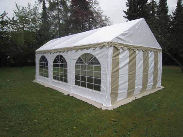 Partyzelt 4x6 beige-weiß mit Dach-und Bodenverstärkung
