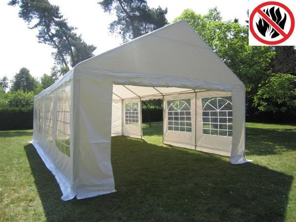 Partyzelt 4x8m weiß, 2,2m Seitenhöhe, PVC feuerresistent