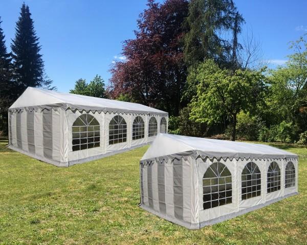 Kombizelt 5x10/5x8 grau-weiß mit 2 Dachplanen