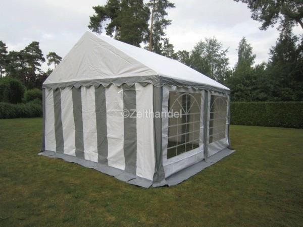 Party Zelt 4x4m, PVC grau-weiß