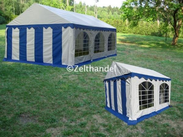 Kombizelt 4x6/4x4 blau-weiß mit 2 Dachplanen