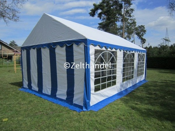 Partyzelt 4x6 blau-weiß PVC mit Dachverstärkung