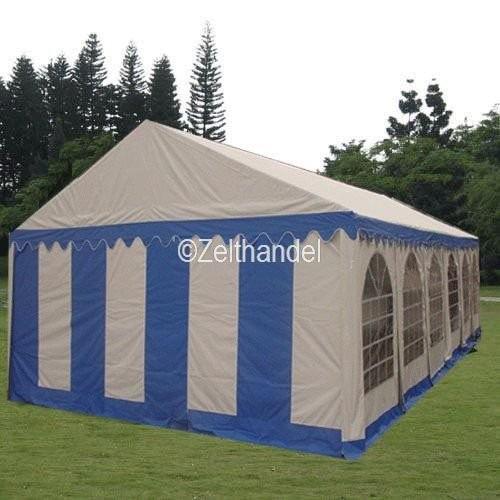 Partyzelt 6x10m blau-weiß PVC Bodenrahmen und Dachverstrebung