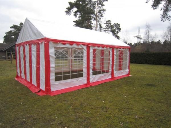 Partyzelt 4x6 m rot-weiß PVC
