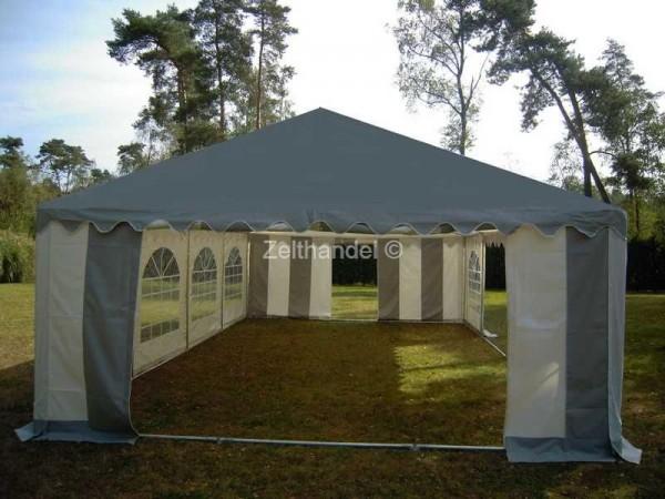 Partyzelt 6x12m PVC graues Dach Bodenrahmen und Dachverstrebung