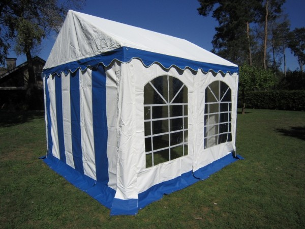 Partyzelt 3x3m, PVC blau-weiß mit Bodenrahmen