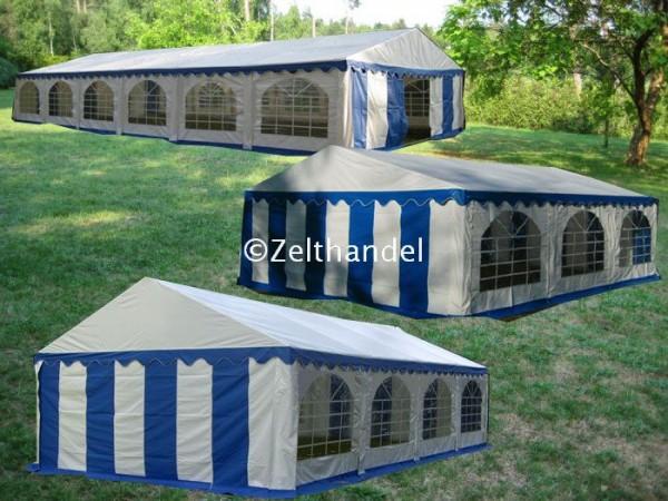 Kombizelt 6x12-6x8-6x6 blau-weiß mit 3 Dachplanen