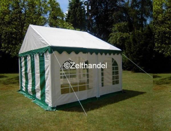 3x4 m Partyzelt, grün-weiß mit Bodenrahmen u. Dachverstrebung