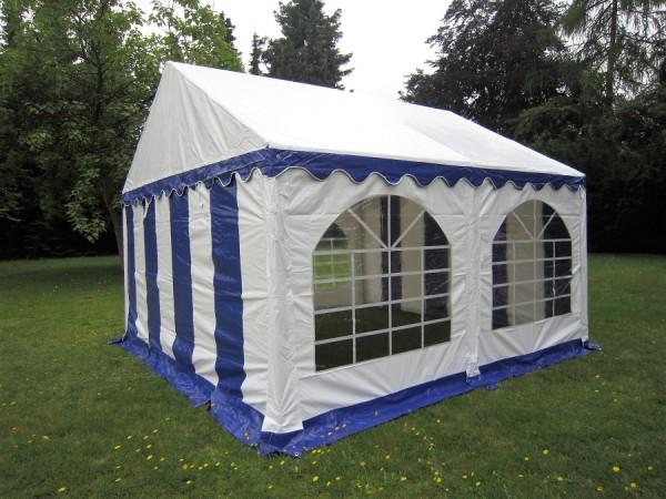 4x4m Zelt blau-weiß mit Bodenrahmen