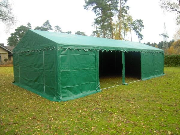 5x8m Lagerzelt grün mit Dach und Bodenverstärkung