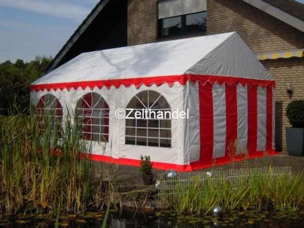 Partyzelt 4x6 rot-weiß PVC, Bodenrahmen und Dachverstrebung