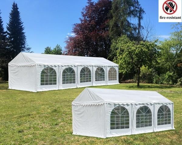 Kombizelt 5x10m und 5x6m PVC weiß Seitenhöhe 2.30m