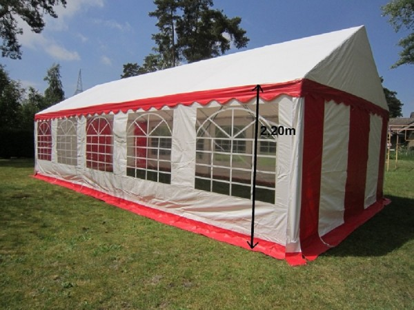 Partyzelt 5x10 rot-weiß PVC, 2,20m Seitenhöhe XXL Gigant