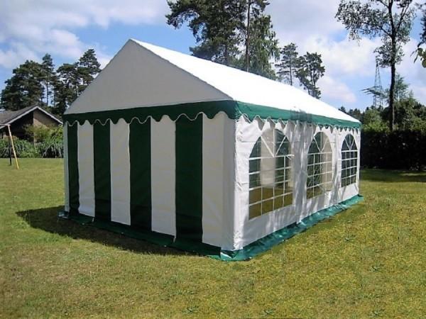 Partyzelt Pavillon 3x6m PVC gruen-weiß wasserdicht