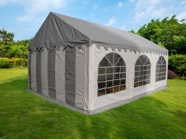 Partyzelt 3x6 PVC grau-weiß, Dach grau, Dach- u Bodenverstärkung