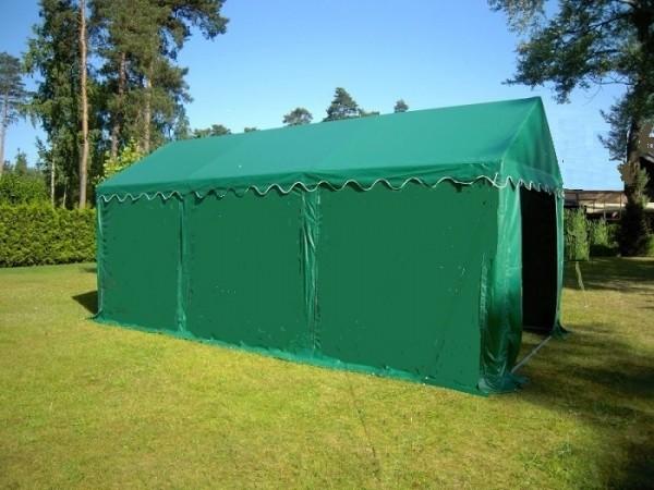 Partyzelt 4x6 PVC grün, Bodenrahmen u. Dachverstrebung ohne Fenster