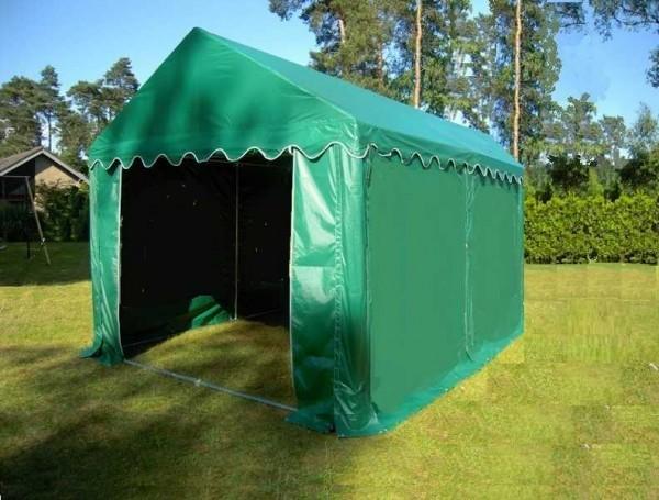 Lagerzelt 4x4 grün, PVC Bodenrahmen - Dachverstärkung