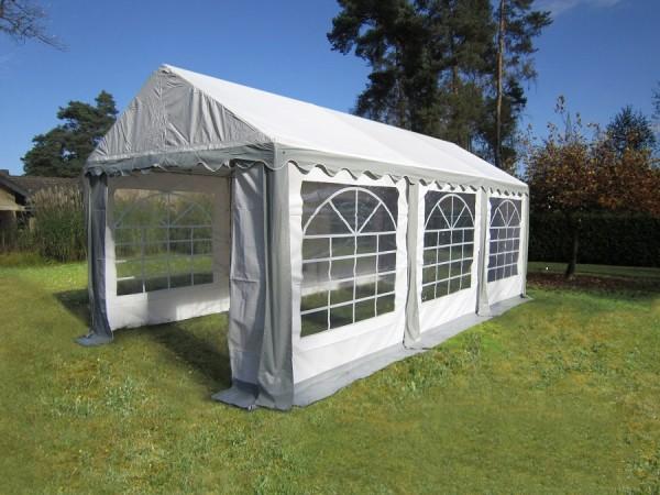 Gartenzelt 4x6m PVC grau mit Seitenteilen Klett