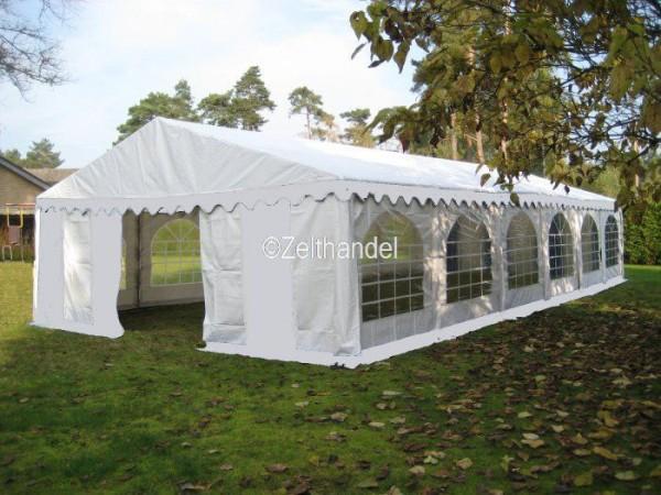 Partyzelt 5x12m weiß, PVC, Bodenrahmen und Dachverstrebung