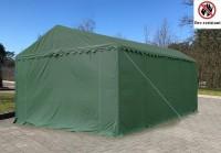 6x8m PVC Lagerzelt feuerfest mit 3m Einfahrt gruen