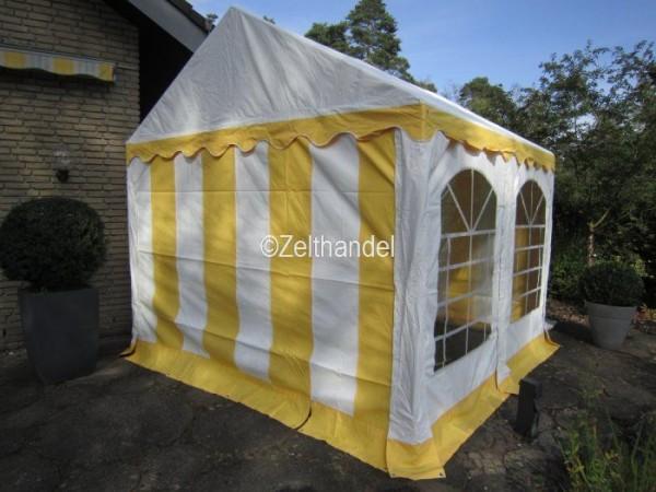 3x4 m Partyzelt, gelb-weiß mit Bodenrahmen u. Dachverstrebung
