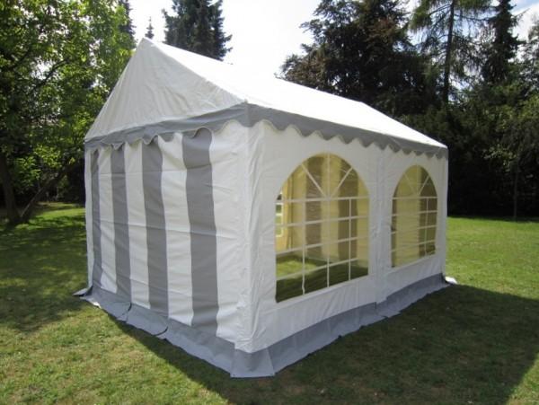 Partyzelt 4x4, PVC grau-weiß mit Bodenrahmen und Dachverstrebung