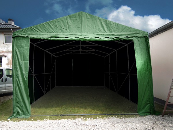 Lagerzelt 5x8 PVC grün XXL - 3m Einfahrtshöhe