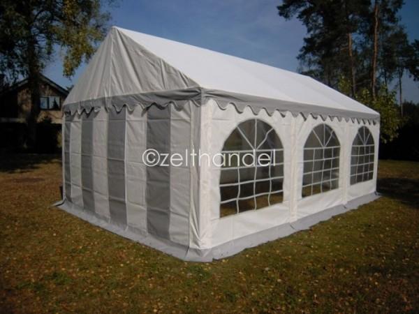 Partyzelt PVC grau-weiß 4x6m