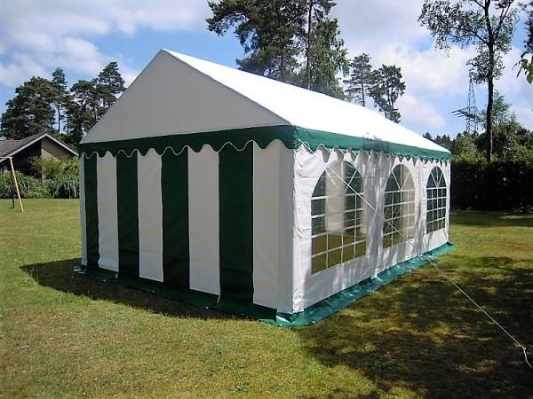 Partyzelt 3x6, PVC grün-weiß, Dach-und Bodenverstärkung