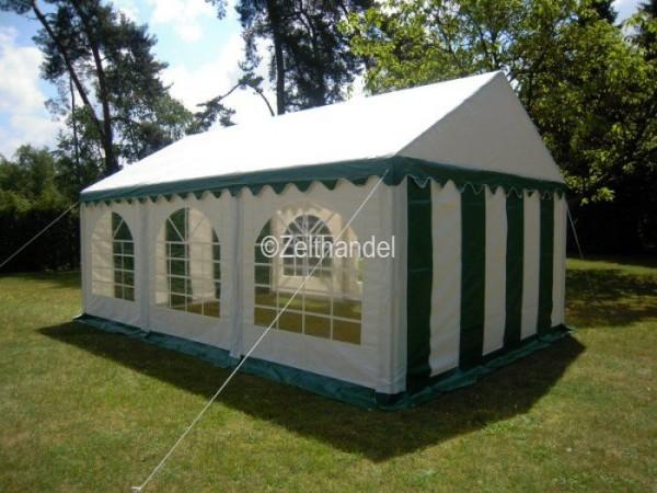 Partyzelt 5x6 grün-weiß mit Grundrahmen und Dachverstrebung